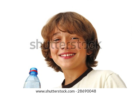 Smiling teenage boy after drinking water isolated on white background.