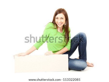 smiling teenage girl with blank board, white background - stock photo