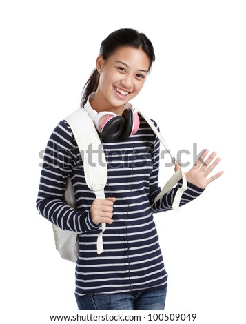 smiling teenage girl with headphones and bag - stock photo