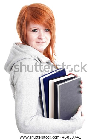 smiling teenager holding book over white background