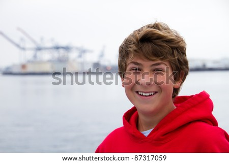 Smiling Teenager in the Harbor of San Pedro Ca on a Boat heading to Catalina