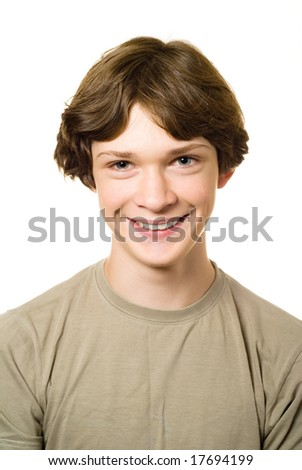 Smiling teenager. Portrait from teenage boy facial expressions series Isolated on white.