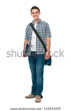 Smiling teenager with a schoolbag standing on white background - stock photo
