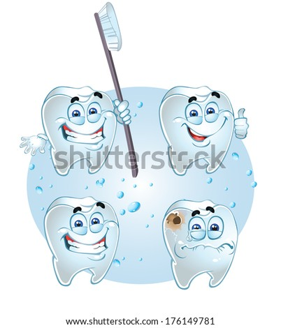 smiling teeth - health with tooth brush and crying with caries - stock photo