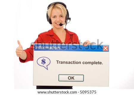 Smiling tele-banking operator shows transaction success - isolated - stock photo