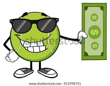 Smiling Tennis Ball Cartoon Mascot Character With Sunglasses Holding A Dollar Bill. Raster Illustration Isolated On White - stock photo