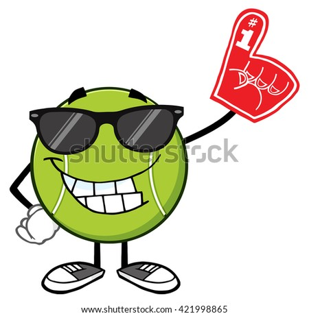 Smiling Tennis Ball Cartoon Mascot Character With Sunglasses Wearing A Foam Finger. Raster Illustration Isolated On White - stock photo