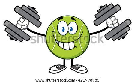 Smiling Tennis Ball Cartoon Mascot Character Working Out With Dumbbells. Raster Illustration Isolated On White - stock photo