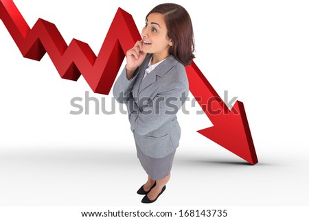 Smiling thoughtful businesswoman against red arrow pointing down - stock photo
