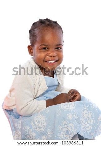 Smiling Three Years Old Adorable African American Girl Portrait on White Background - stock photo
