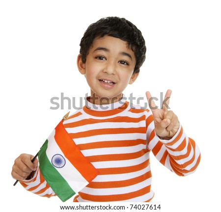 Smiling Toddler Holds a Flag of India and Flashes Victory Sign, Isolated, White - stock photo