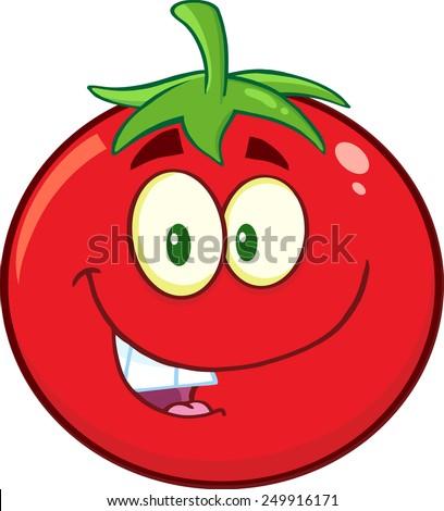 Smiling Tomato Cartoon Mascot Character. Raster Illustration Isolated On White - stock photo