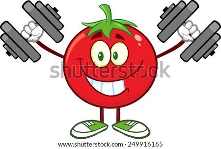 Smiling Tomato Cartoon Mascot Character Training With Dumbbells. Raster Illustration Isolated On White - stock photo