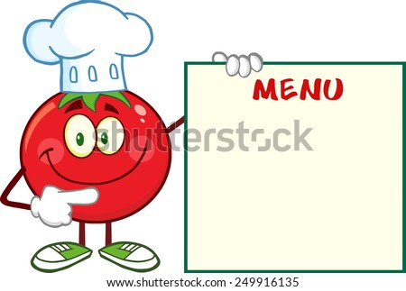 Smiling Tomato Chef Cartoon Mascot Character Pointing To Menu Board. Raster Illustration Isolated On White - stock photo