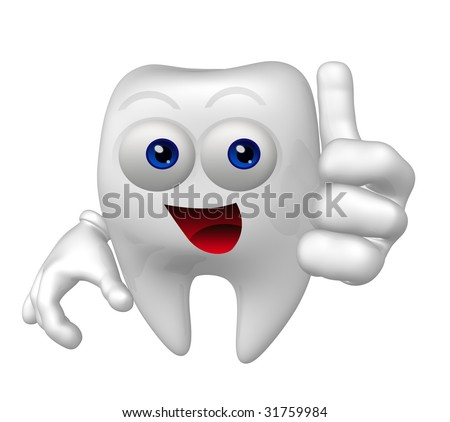 Smiling tooth mascot icon figure - stock photo