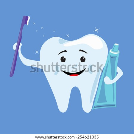 Smiling tooth with toothpaste and toothbrush