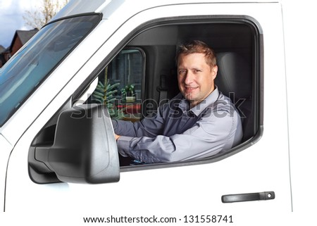 Smiling Truck Driver Car Delivery Cargo Stock Photo 113822218 ...