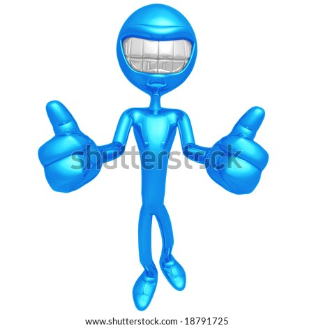 Smiling Two Thumbs Up - stock photo