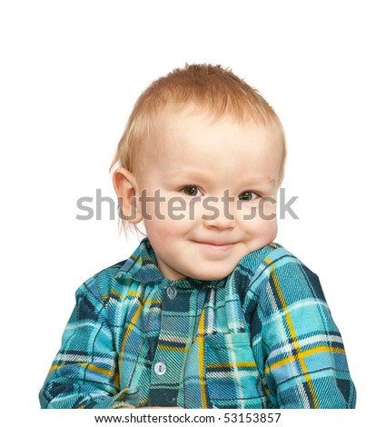 Smiling two-year boy in  chequered shirt, isolated on white - stock photo