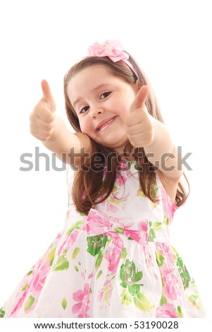 Smiling up with her thumbs up isolated on white - stock photo