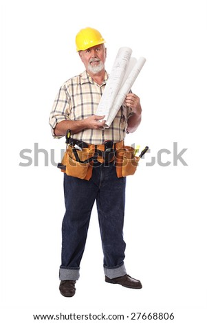 Smiling, upbeat construction worker with blueprints - stock photo