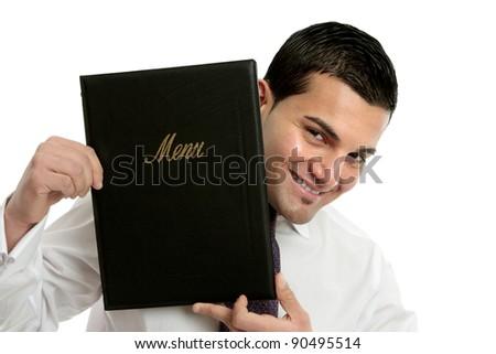 Smiling waiter or businessman holding leatherbound folder.  White background. - stock photo