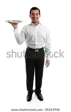 Smiling waiter or servant holding a silver tray.  White background. - stock photo
