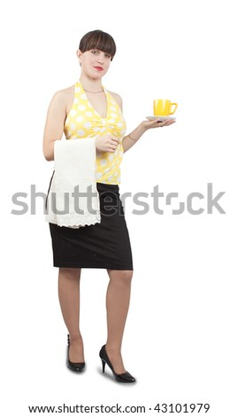 smiling waitress serving coffee on an isolated background - stock photo
