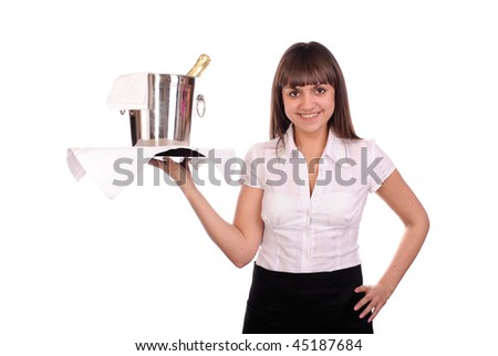 smiling waitress with bottle of champagne in bucket with ice. isolated on white - stock photo