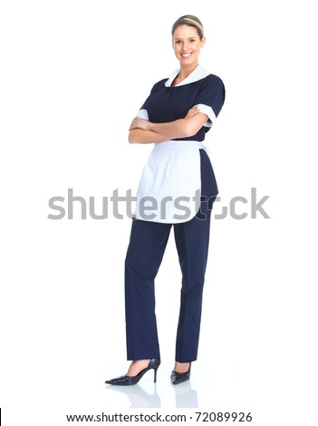 Smiling waitress woman. Isolated over white background - stock photo