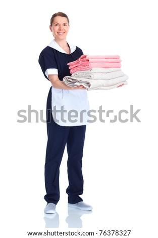 Smiling waitress woman. Isolated over white background - stock photo