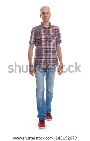 smiling walking casuals man in red shirt isolated on white background