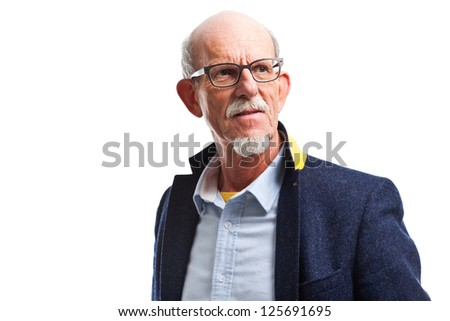 Smiling well dressed senior man with glasses. Isolated.