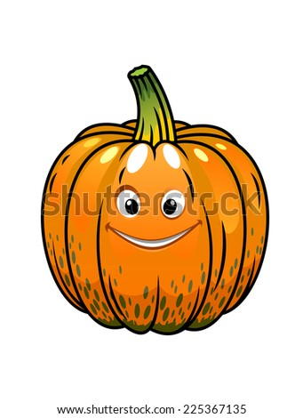 Smiling whole fresh orange cartoon Halloween fall pumpkin with a cute grin isolated on white - stock photo