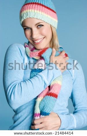 Smiling Winter Girl - stock photo