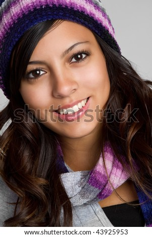 Smiling Winter Latina - stock photo