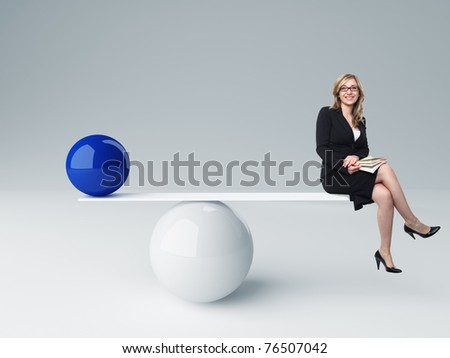 smiling woman and 3d balance - stock photo