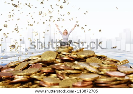 smiling woman and euro coin rain - stock photo
