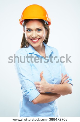 Smiling woman architect show thumb up. White background isolated portrait. Business woman wearing protect helmet. - stock photo