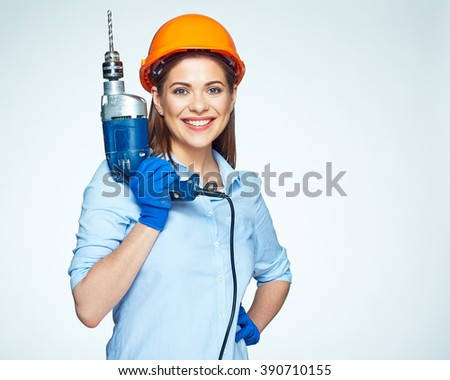 Smiling woman builder worker with drill isolated portrait on white. - stock photo