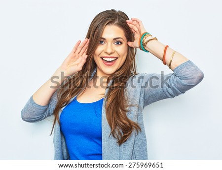 Smiling woman casual dressed isolated portrait. Young model smiling with teeth.  - stock photo