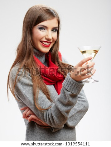 Smiling woman celebrating event with alcohol drink. isolated portrait.