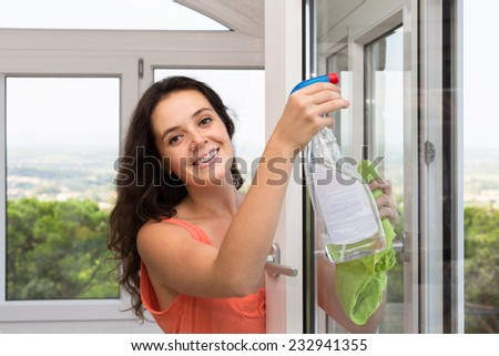 Smiling woman cleaning windows using atomizer indoor  - stock photo