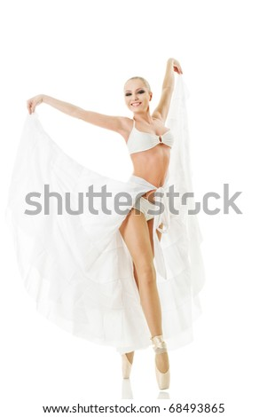 Smiling woman dancing classic ballet isolated over white background - stock photo