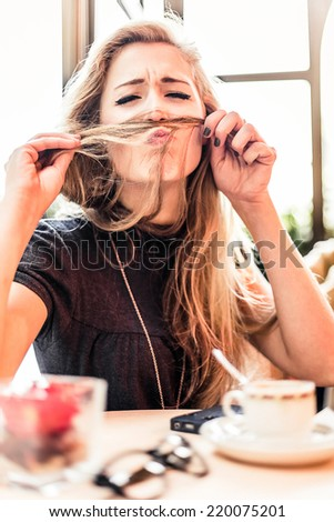 Smiling woman during coffee break