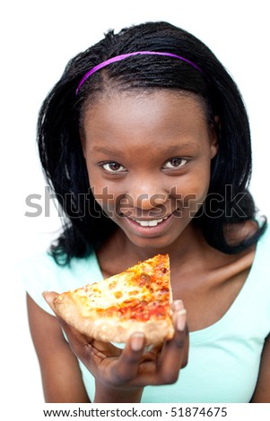 Smiling woman eating a pizza against a white background - stock photo