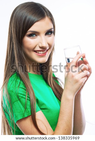 Smiling woman hold water glass. Isolated white background female portrait. Young female model.