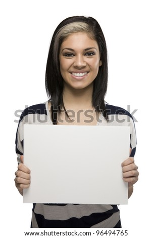 Smiling Woman Holding a Blank Sign - stock photo