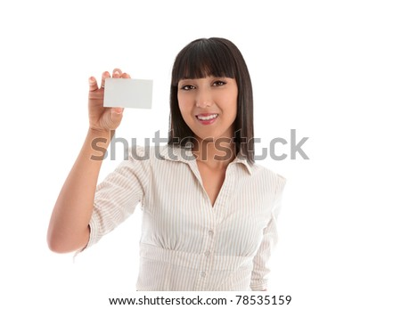 Smiling woman holding up a blank business card, club card, credit card, student card or other.  White background. - stock photo