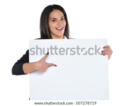 Smiling woman holding white sign board. portrait of smiling young model with long hair. isolated on white background